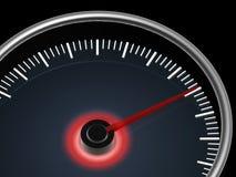 Speedometer on dark background. Speedometer with red pointer on dark background Stock Images
