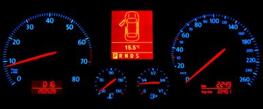 Speedometer in the Darkness Stock Photography