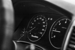 Speedometer and dashboard car black and white Royalty Free Stock Image