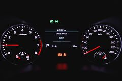 Speedometer dashboard with illumination. Close-up view stock photos