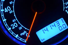 Speedometer. And dashboard lights close up Stock Image