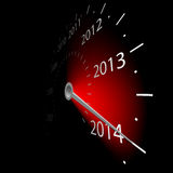 Speedometer with the date of year. Illustration of speedometer with the date of year Stock Photo