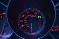 Car dashboard detail with red and blue lights royalty free stock images