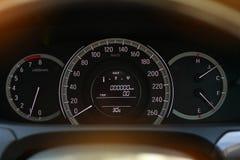 Speedometer drive, odometer scale road trip, fuel engine meter Royalty Free Stock Photos