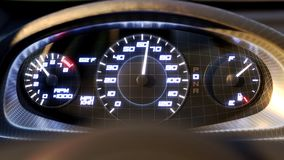 Speedometer fast car speed dashboard accelerate. 3D grid close angle. 4k. 3d animation rendering