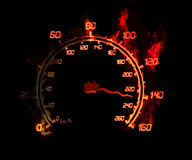 Speedometer on fire. Illustration of the burnig speedometer on the black Royalty Free Stock Image
