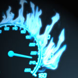 Speedometer on fire. Illustration of speedometer in the flame Royalty Free Stock Image