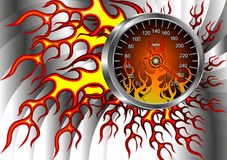 Speedometer on fire. For advertising shops, cars, racing, and more Royalty Free Stock Photo