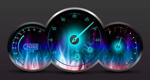 Speedometer in Fire on dark background Royalty Free Stock Images