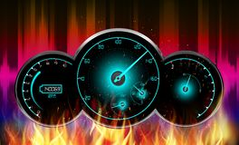 Speedometer in fire Royalty Free Stock Photos
