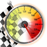 Speedometer with Flag. Concept - Winner, Champion. Detailed Car Speedometer with Maximum Speed and Flag, vector illustration Stock Photos
