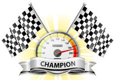 Speedometer with Flags and Ribbons Royalty Free Stock Photo