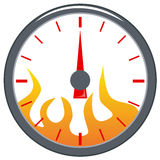 Speedometer with flames. Vector art of a Speedometer with flames isolated on white Royalty Free Stock Photography