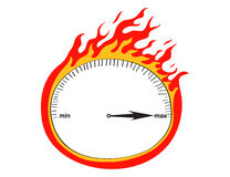 Speedometer and flames. Illustration of speedometer and flames Royalty Free Stock Photos