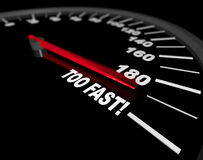 Speedometer - Going Too Fast Stock Photo