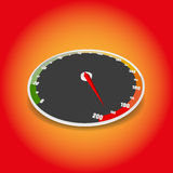 Speedometer on gradient background. The rate of the vehicle. A three-dimensional view on a colored background with a gradient. Maximum speed. Speeding. At the stock illustration
