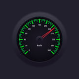 Speedometer Green. Realistic and detailed green speedometer illustration in measurement of km/h Royalty Free Stock Photo