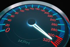 Speedometer hight speed. Speedometer  and hight speed- 3D image Stock Photo