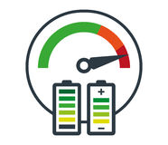 Speedometer Icon and Battery Stock Photography