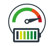 Speedometer Icon and Battery Stock Photos