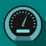Speedometer icon in flat style. On a blue background Royalty Free Stock Images