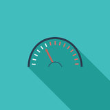 Speedometer icon. Flat vector related icon with long shadow for web and mobile applications. It can be used as - logo, pictogram, icon, infographic element Stock Photography
