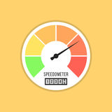 Speedometer icon isolated on yellow background. Flat style design vector illustration Royalty Free Stock Photography