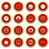 Speedometer icon red circle set Royalty Free Stock Image