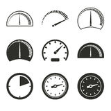 Speedometer icon set. Speedometer vector icons set. Black illustration isolated on white background for graphic and web design Vector Illustration