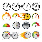 Speedometer Icon Set Vector. Speed Symbol. Auto Power. Automobile Interface. Transportation Element. Fast Indicator stock illustration