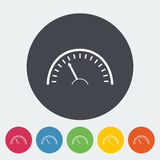 Speedometer icon. Speedometer. Single flat icon on the circle. Vector illustration Royalty Free Stock Photography