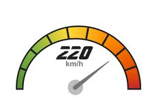 Speedometer icon vector  with speed indicator, vector illustration.  Stock Photo