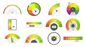 Speedometer icons. Credit score indicators. Speedometer goods gauge rating meter. Level indicator, credit loan scoring. Manometers vector set royalty free illustration