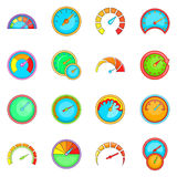 Speedometer icons set, cartoon style Stock Image
