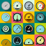 Speedometer icons set, flat style Royalty Free Stock Photos
