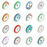 Speedometer icons set, isometric 3d style Stock Photography