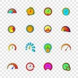 Speedometer icons set, pop-art style Royalty Free Stock Image