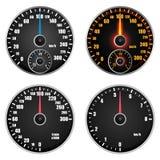 Speedometer indicator mockup set, realistic style vector illustration