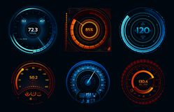 Speedometer indicators. Power meters, fast or slow internet connection speed meter stages vector concept stock illustration