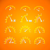 Speedometer interface icons. 12 different versions Stock Photo