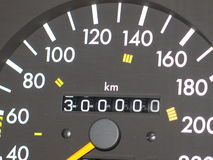 Speedometer 300.000 km. Speedometer of a car Mercedes-300 that has reached 300,000 kilometers. The numbers are in white colour and the back is dark grey Royalty Free Stock Photo