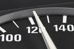 Speedometer at 120 km/h. Speedometer in car dashboard at 120 km/h Stock Image