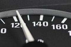 Speedometer at 120 km/h. Speedometer in car dashboard at 120 km/h Stock Photography