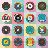 Speedometer level indicator icons set, flat style vector illustration