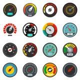 Speedometer level indicator icons set, flat style royalty free illustration