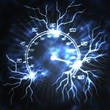 Speedometer and lightning. The speeding speedometer and lightning abstract illustration Stock Photo