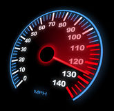 Speedometer. Lite Up Dashboard Speedometer With Motion Blur on Black Stock Photo
