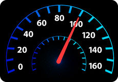 Speedometer logo. Illustration art of a speedometer logo with isolated background Stock Photos