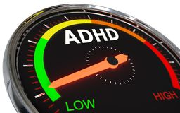 Measuring adhd level. Speedometer Measuring adhd level on low green , 3d rendered on white background Stock Images