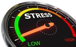 Measuring stress level. Speedometer Measuring stress level on low green , 3d rendered on white background stock illustration
